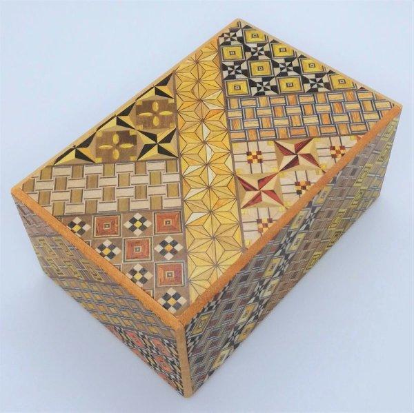 Photo1: 27 steps Yosegi 5 sun Japanese puzzle box Himitsu-bako 4580685045054 (1)