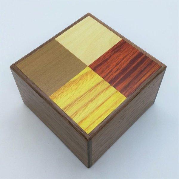 Photo1: Square 14 steps 4 kinds and Walnut wood Japanese puzzle box Himitsu-bako (1)