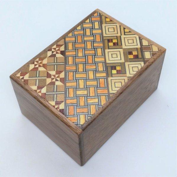 Photo1: 7 steps Yosegi/Walnut wood 3 sun Japanese puzzle box Himitsu-bako (1)